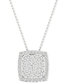 "Diamond Halo Cushion Cluster 18"" Pendant Necklace (1/2 ct. t.w.) in 10k White Gold"