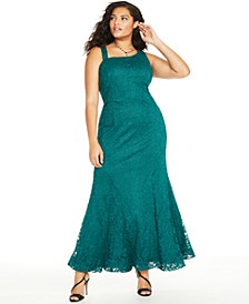 Trendy Plus Size Glitter-Lace Mermaid Gown
