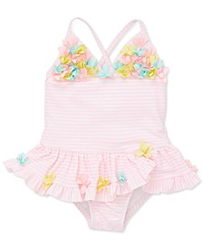 Baby Girls 1-Pc. Floral-Trim Striped Swimsuit