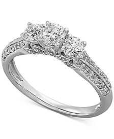 Diamond Triple Stone Engagement Ring (1 ct. t.w.) in 14k White Gold