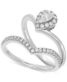 Certified Diamond Teardrop Chevron Bridal Set (1/2 ct. t.w.) in 14k White Gold)