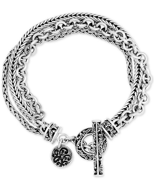 Lois Hill Multi-Chain Toggle Bracelet in Sterling Silver