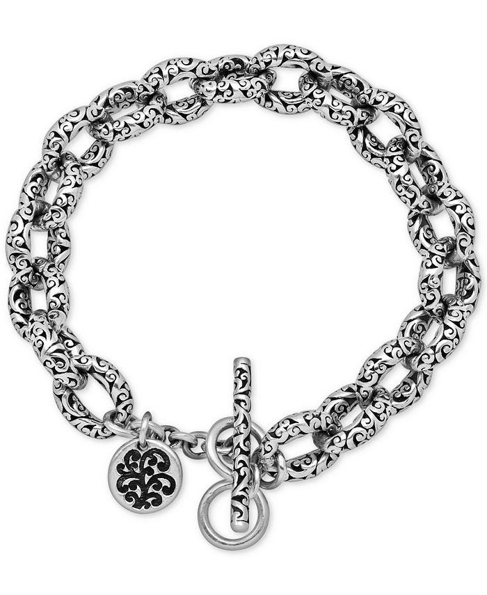 Lois Hill - Filigree Link Toggle Bracelet in Sterling Silver