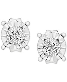 Diamond Miracle Plate Stud Earrings (1/5 ct. t.w.) in 14k White Gold
