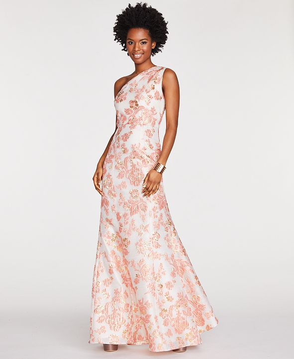 Adrianna Papell One-Shoulder Jacquard Gown