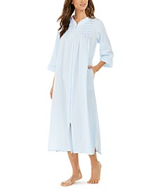 Embroidered Seersucker Long Zipper Robe