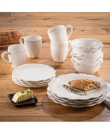 Bianca Scallop Flute Ceramic 16-Piece Dinnerware Set, Service For 4