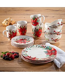 Poinsettia Party Round Porcelain 16-Piece Dinnerware Set