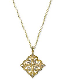 "Two-Tone Filigree 18"" Pendant Necklace in Sterling Silver & 18k Gold-Plated Sterling Silver, Created For Macy's"