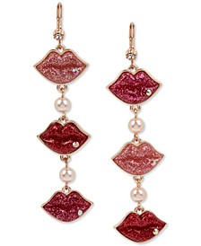 Rose Gold-Tone Crystal & Imitation Pearl Glitter Lips Mismatch Linear Drop Earrings