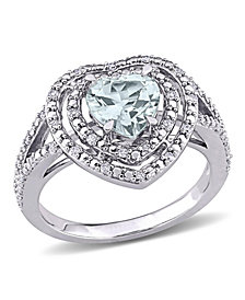 Aquamarine (1 1/2 ct. t.w.) and Diamond (1/5 ct. t.w.) Halo Heart Ring in 10k White Gold