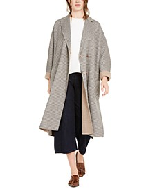 Plaid Belted Wool-Blend Coat