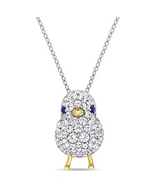 Created Blue and White Sapphire (2 3/4 ct. t.w.) Chick Bird Necklace in 18k Two-Tone Over Sterling Silver