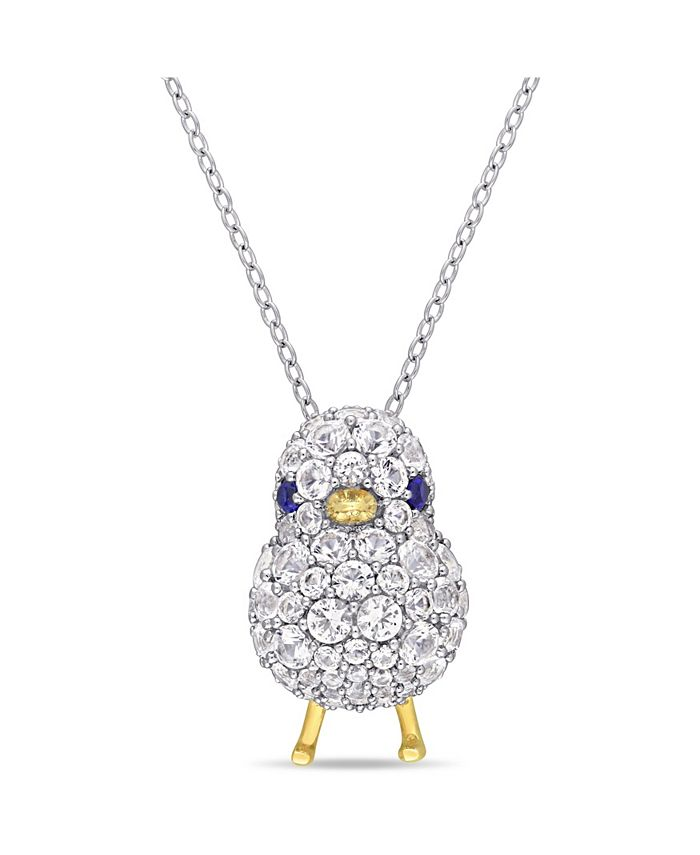 Macy's - Created Blue and White Sapphire (2 3/4 ct. t.w.) Chick Bird Necklace in 18k Two-Tone Over Sterling Silver