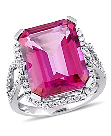 Pink Topaz (14 1/2 ct. t.w.) and Diamond (1/2 ct. t.w.) Ring in 14k White Gold