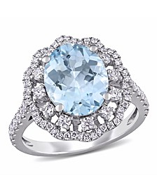 Aquamarine (2 3/4 ct. t.w.) and Diamond (3/4 ct. t.w.) Halo Ring in 14k White Gold