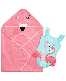 Baby Girls Flamingo Swimsuit & Towel, Created for Macy's