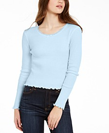 Juniors' Cropped Thermal T-Shirt