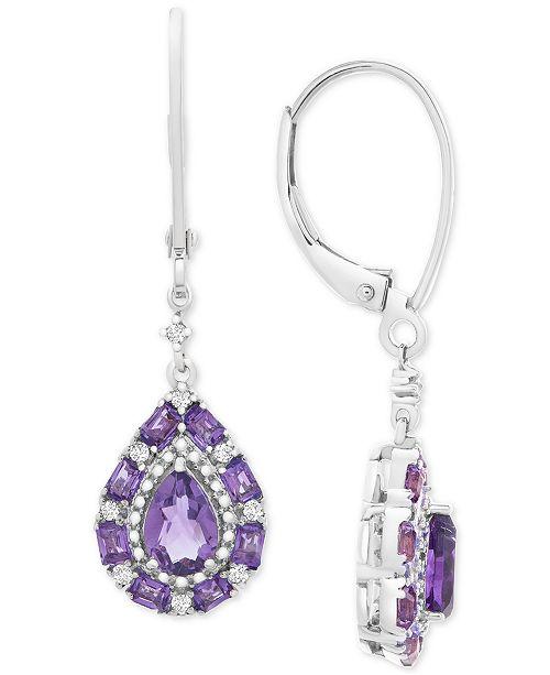 Macy's Multi-Gemstone Teardrop Drop Earrings (1-1/2 ct. t.w.) in Sterling Silver