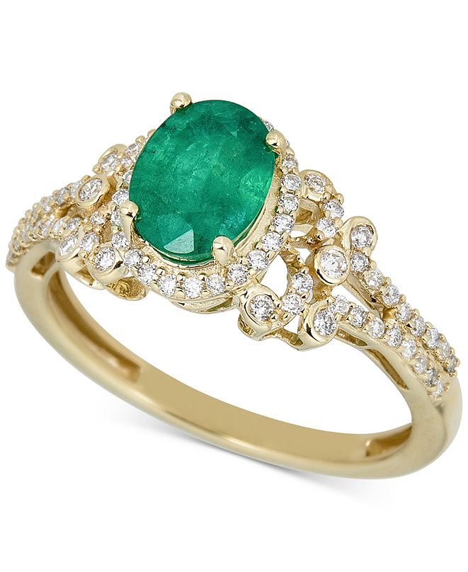 Macy's Emerald (1-1/4 ct. t.w.) & Diamond (1/3 ct. t.w.) Ring in 14k Gold (Also in Ruby)