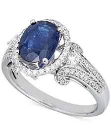 Sapphire (2 ct. t.w.) & Diamond (1/2 ct. t.w.) Ring in 14k White Gold
