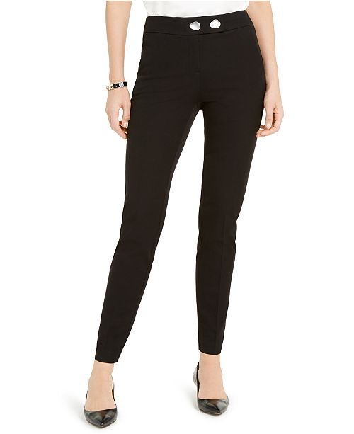 Alfani Petite Extended-Tab Skinny Pants, Created for Macy's