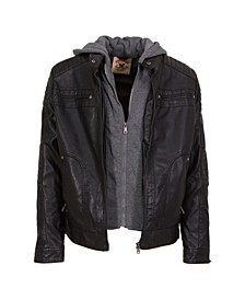 American Culture Men's Washed Faux Leather Jacket with Fleece Zip Out Hooded Bib