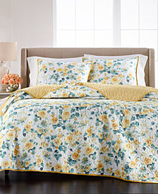 Martha Stewart Garden Floral Quilt and Sham Collection, Created for Macy's