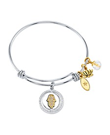 """Good Vibes Only"" Hamsa Bangle Bracelet in Stainless Steel & Gold-Tone"