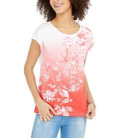 Ombré Floral-Print Top