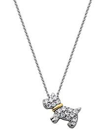 Scottie Dog Pendant on Chain Necklace in Fine Silver Plate