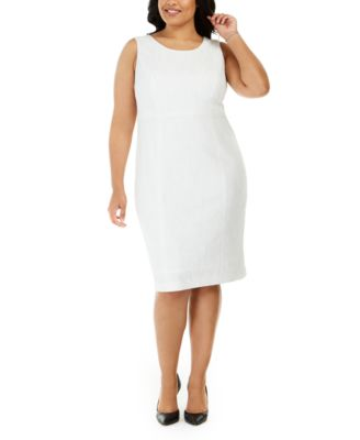 Plus Size Ribbed Metallic Sheath Dress