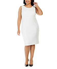 Plus Size Ribbed Metallic Sheath Dress