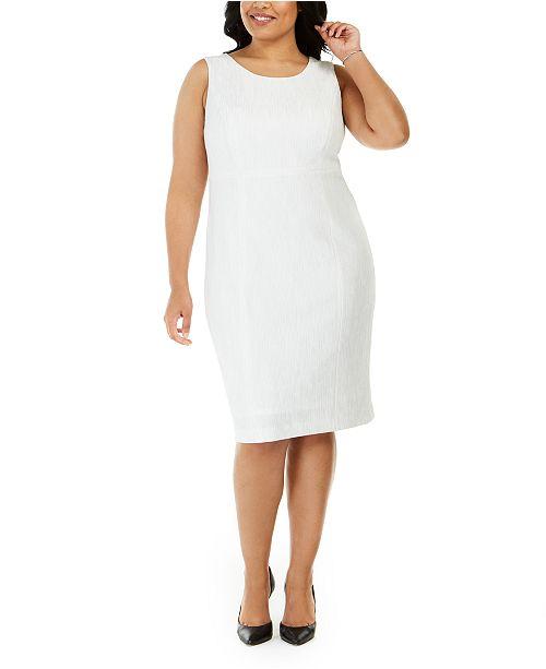Kasper Plus Size Ribbed Metallic Sheath Dress
