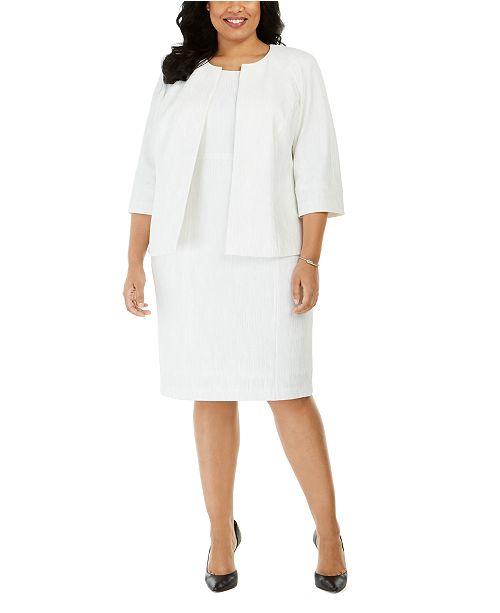 Kasper Plus Size Metallic Knit Jacket & Sheath Dress
