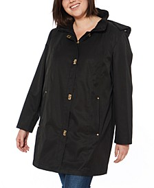 Plus Size Water-Resistant Hooded Raincoat