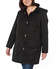 Jones New York Plus Size Water-Resistant Hooded Raincoat