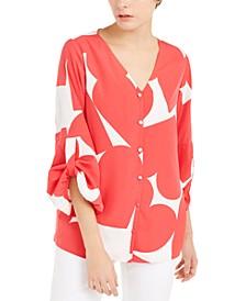 Heart-Print Gathered-Sleeve Shirt, Created For Macy's