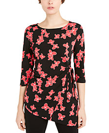 Alfani Petite Floral-Print Side-Tie Top, Created for Macy's
