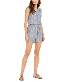 INC Striped Tie-Waist Linen-Blend Romper, Created For Macy's