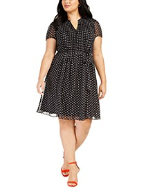 Plus Size Polka Dot Shirtdress