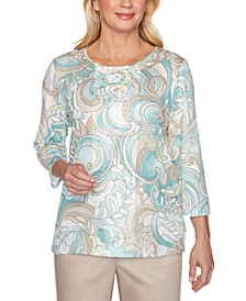 Cottage Charm Embellished Paisley Print Top