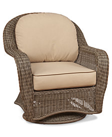 Sandy Cove Wicker Outdoor Swivel Glider: Custom Sunbrella®, Created for Macy's