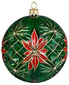Glitterazzi Poinsettia Ball with Crystal Cuts Ornament