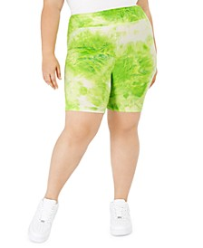Plus Size High-Rise Tie-Dye Bike Shorts