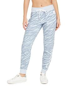 Zebra-Print Fleece Joggers
