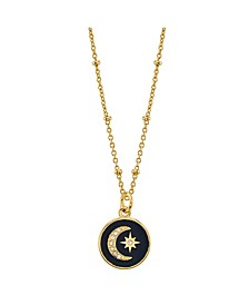 "Crystal Moon And Star Pendant Gold Plated Necklace, 16""+2"" Extender"