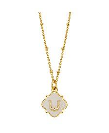 "Crystal Horseshoe Enamel Pendant Gold Plated Necklace, 16""+2"" Extender"