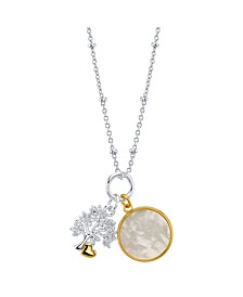 "Cubic Zirconia Tree And Mother Of Pearl Pendant Rose Gold Two Tone Fine Plated Silver Necklace, 16""+2"" Extender"