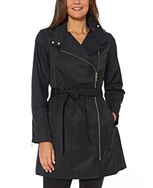 Hooded Water-Resistant Belted Raincoat